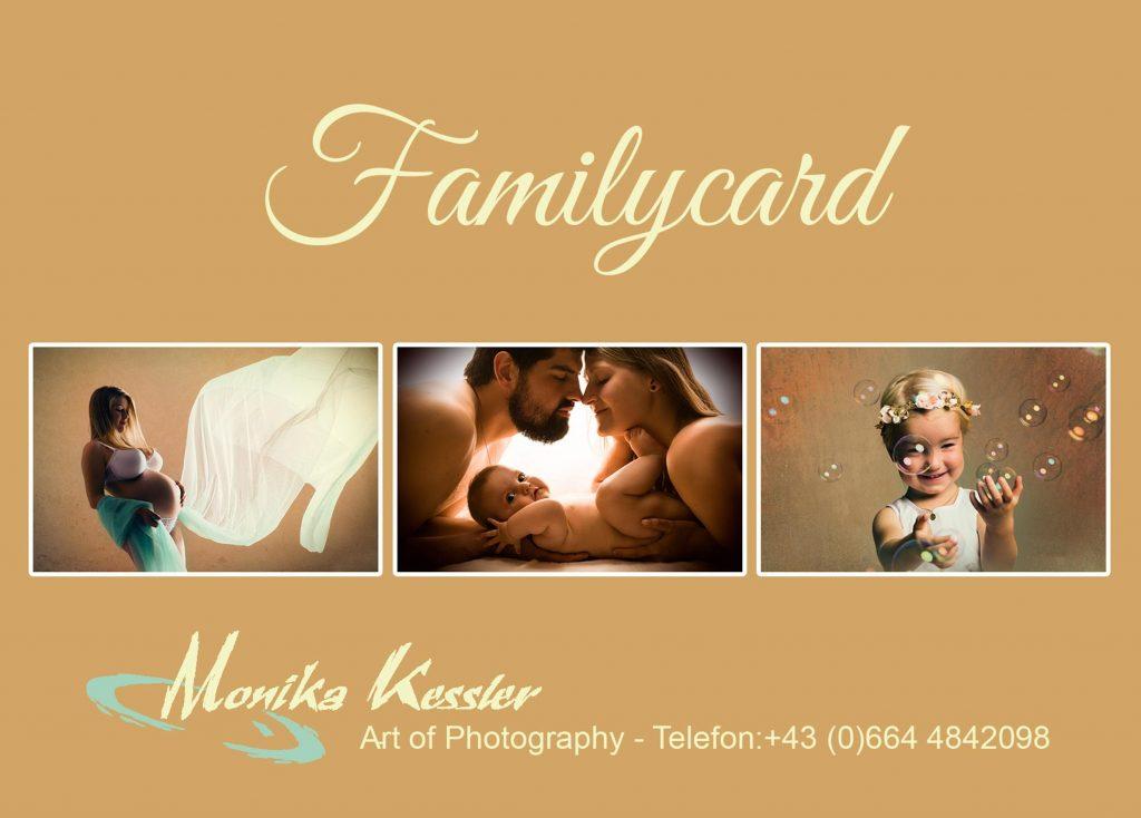 Familycard für Familienshootings, Babybauchbilder, Newbornschootings, Babyfotos und Kinderfotografie
